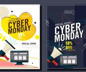 Cyber monday banner templates megaphone computer vector
