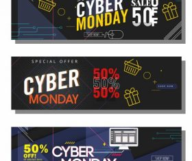 Cyber monday banner templates dark modern colorful dynamic vector
