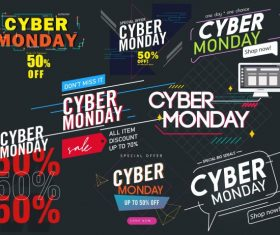 Cyber monday decor templates modern dynamic texts vector