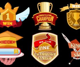 Awards icons modern colorful 3d vector