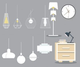 Furnitures icons colored contemporary vector