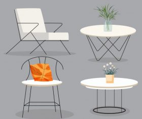 Furniture icons contemporary chair table objects 3d vector