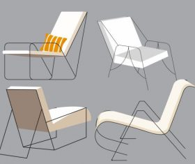 Chair furnitures icons simple 3d vector
