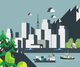City scene painting modern buildings riverside mountain vector