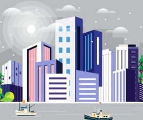 City scene painting colorful decor skyscrapers riverside vector