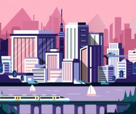 Downtown painting skyscrapers train riverside scene vector