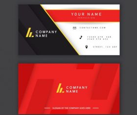 Business card template elegant modern flat black red vector