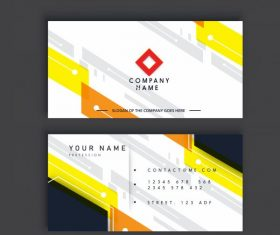 Business card template modern bright abstract flat decor vector