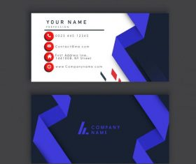 Business card template dark bright violet 3d shape shiny vector