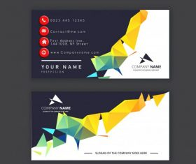 Business card template colorful geometric lowpoly 3d decor shiny vector