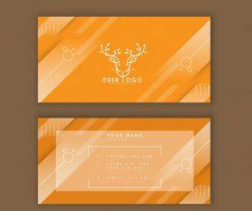 Business card template reindeer logo yellow stripes vector