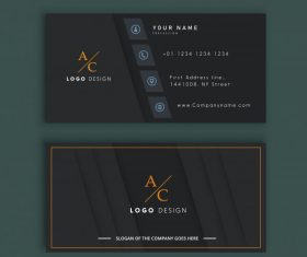 Business card template elegant black flat decor vector