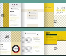 Trifold brochure templates modern bright checkered decor vector