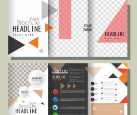 Company brochure templates modern colorful checkered geometric decor vector