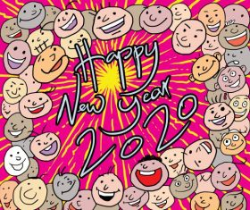Happy new year freehand cartoon 2020 vector set