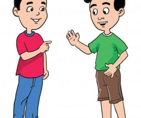 Cartoon two boys friendly talking set vector