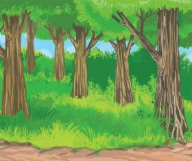 Scenery tropical jungle digital painting illustration vector
