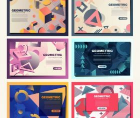 Geometric background templates modern dynamic 3d flat vector