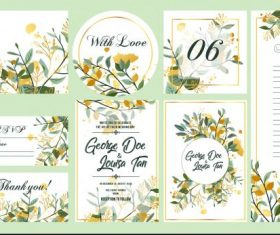 Wedding templates colorful elegant floral leaves decor vector