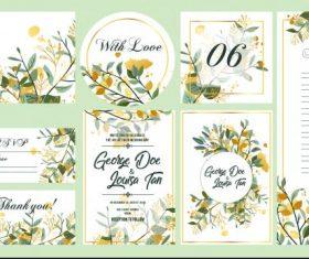 Wedding templates colorful elegant floral leaves decor vector
