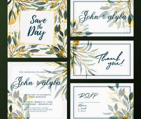 Wedding card templates elegant colorful flora decor vector