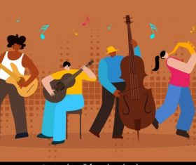 Music background orchestra performance cartoon vector