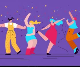 Party background cheering singing people colorful decor vector