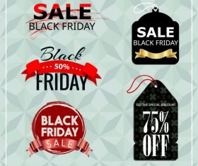 Black friday tags templates modern colored texts shapes vector