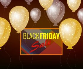 Black friday banner sparkling floating balloon modern colorful vector