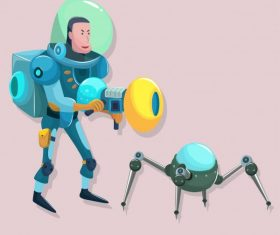 Space exploration icons modern cartoon character vector