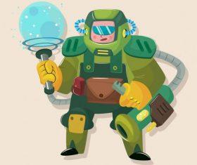 Space soldier modern armour cartoon set vector