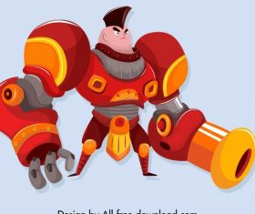 Universe soldier robotic armour decor cartoon character vector