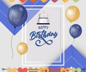 Birthday poster template colorful balloon hearts vector
