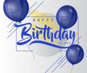 Birthday poster template modern bright balloon decor vector