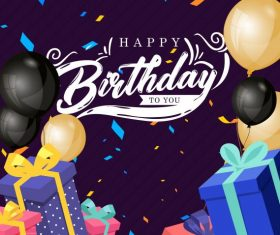 Birthday banner template colorful dynamic balloon presents decor vectors