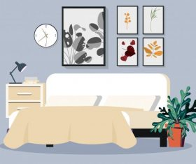 Bedroom decorated cozy decor vector