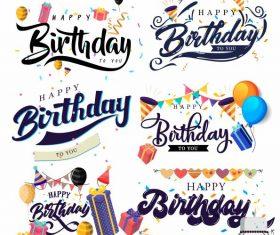Birthday decorative elements classic texts vector