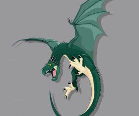 Western dragon fierce green vector graphics