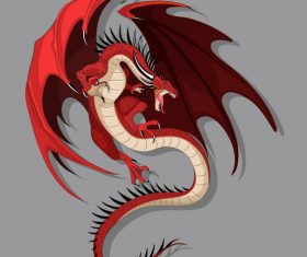 European dragon flying gesture vector graphics