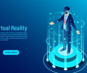 Man wearing goggle vr with touching interface into virtual reality world future technology flat isometric illustration vector