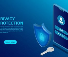 Banner protect data and confidentiality on mobile privacy protection vector graphics