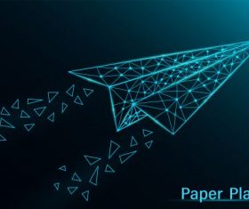 Abstract paper plane dark neon on blue background illustration vector