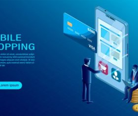 Mobile with shopping concept vector