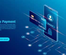 Data protection concept online payment security transaction vector design