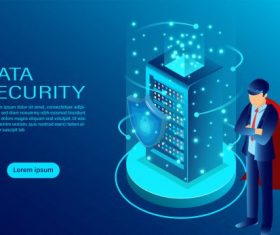 confidentiality and data privacy protection concept with a shield and lock flat isometric illustration vector