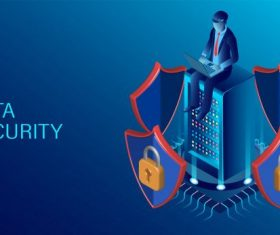 Data security concept data processing protecting digital information flat isometric illustration vector