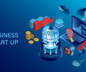 Banner with business start up concept digital marketing business success goal isometric illustration cartoon vectors