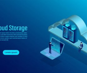 Cloud storage online computing storage concept isometric flat illustration vectors material