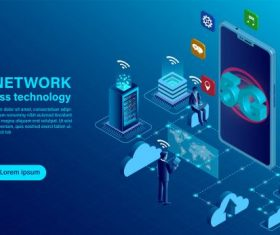 Banner 5g network wireless technology concept isometric flat illustration illustration vector