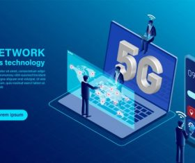 Banner 5g network wireless technology concept isometric flat illustration vectors material